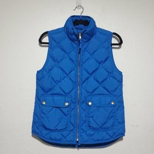 J Crew Excursion Puffer Vest Women XS Riviera Bright Blue Down Fill Style 02725